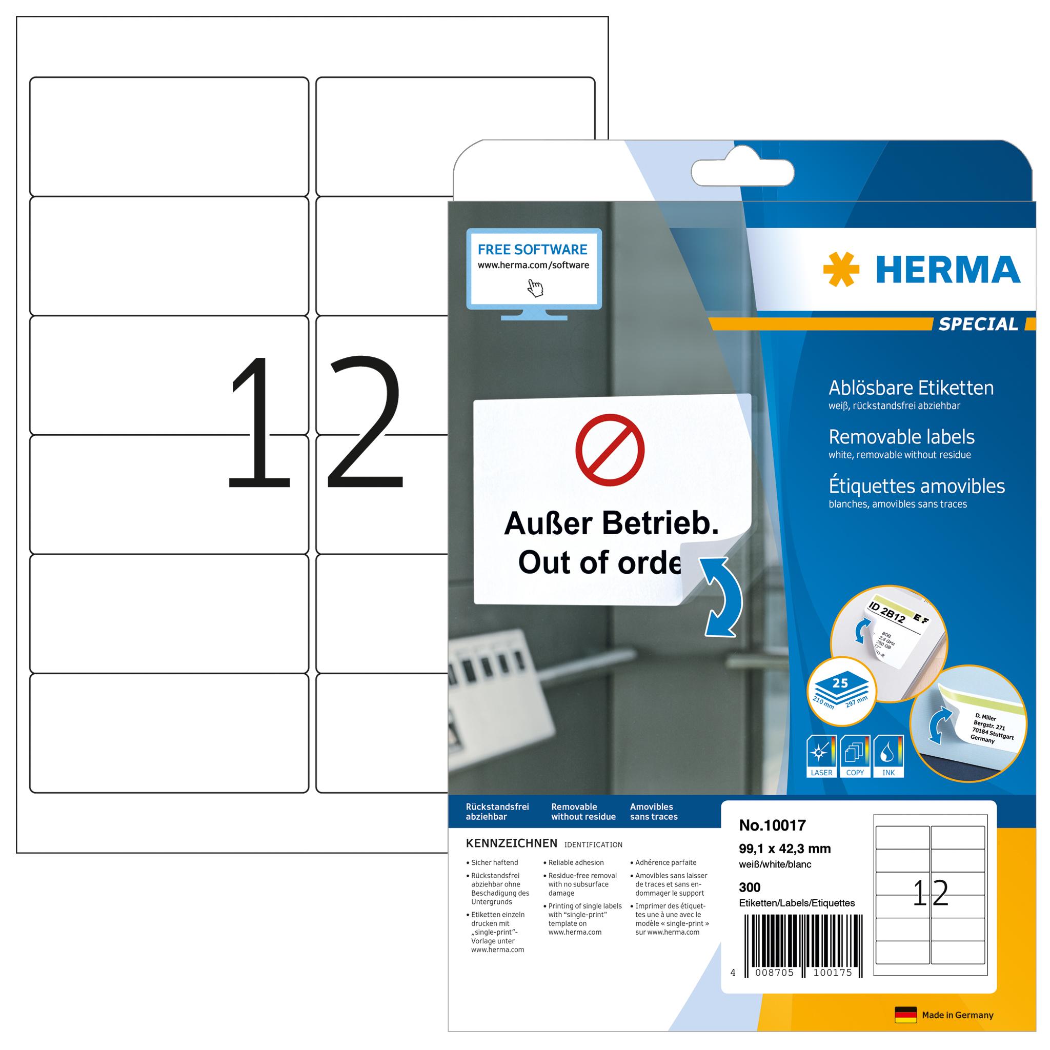 Ablösbare Adressetiketten A4 - HERMA 10017 - 99,1x42,3 mm 300 St.