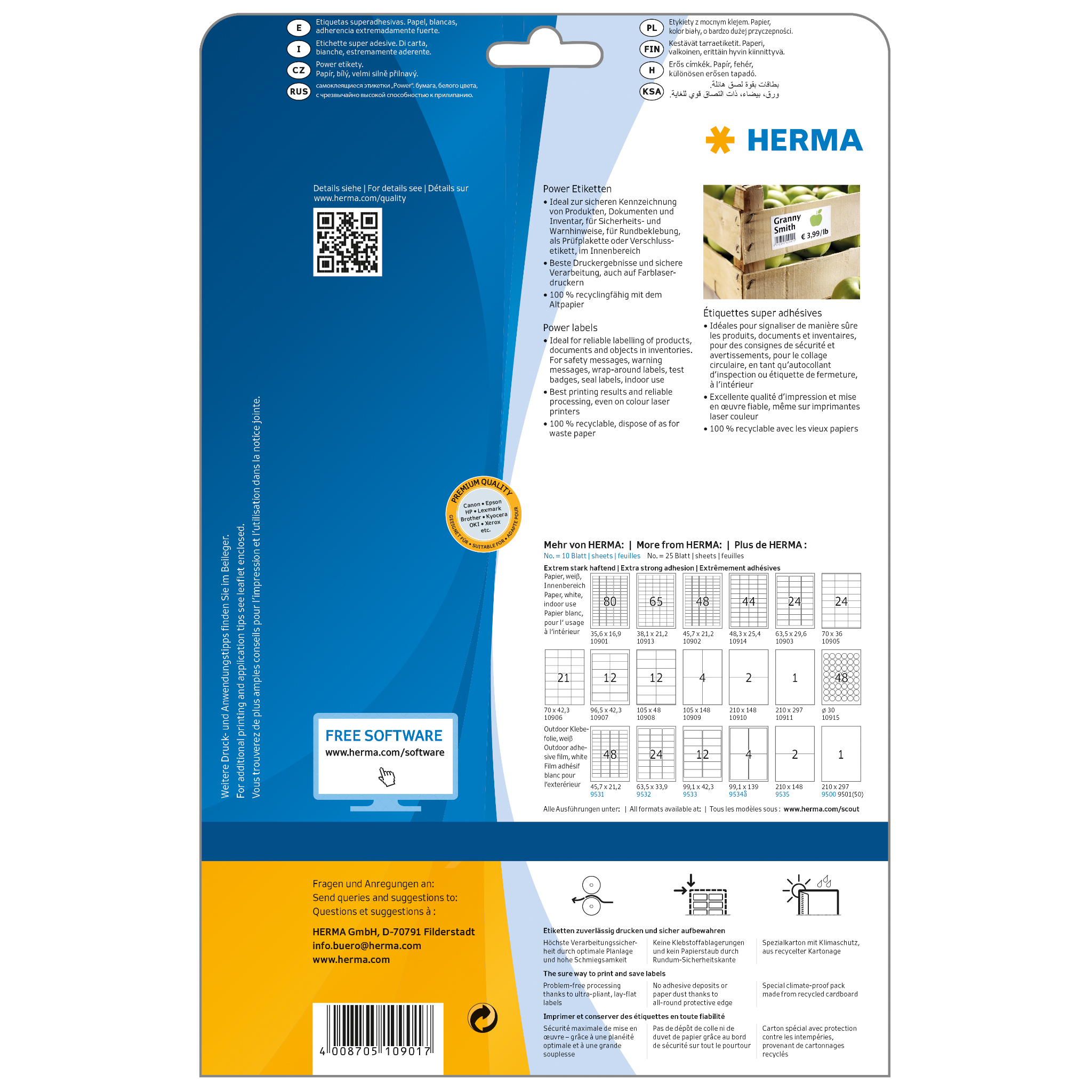 HERMA 10901 Adressetiketten A4 35,6x16,9mm extrem stark 2000 Stück matt weiß