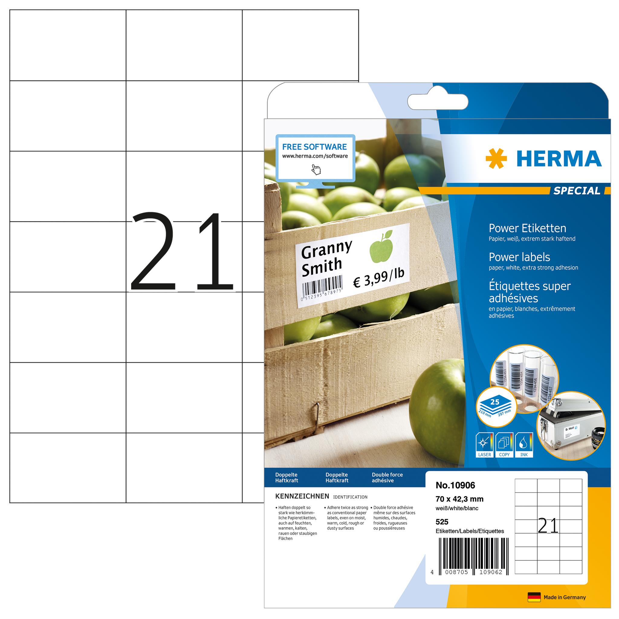 Etiketten A4 Herma 10906 70x42 3 Mm Gelb 525 St