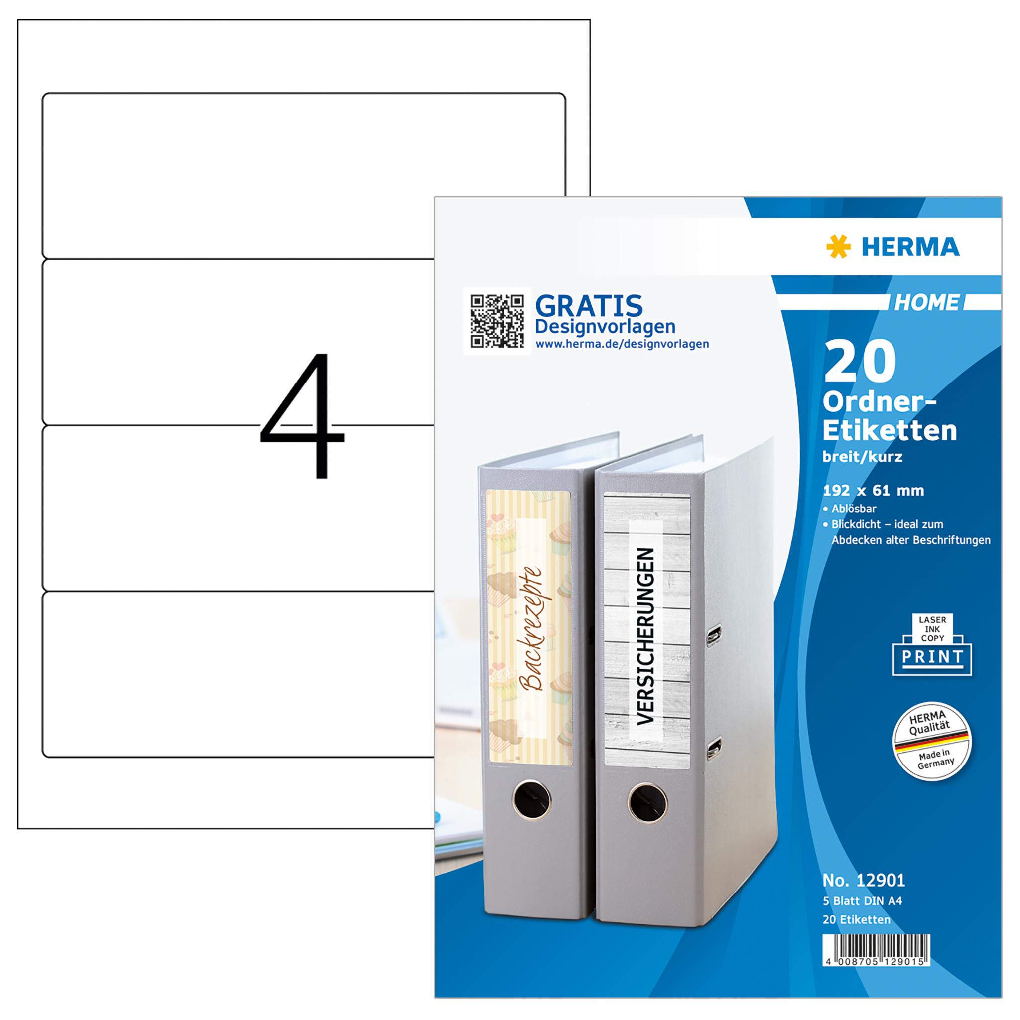Ablösbare Ordneretiketten A4 - HERMA 12901 - 192x61 mm 20 St.