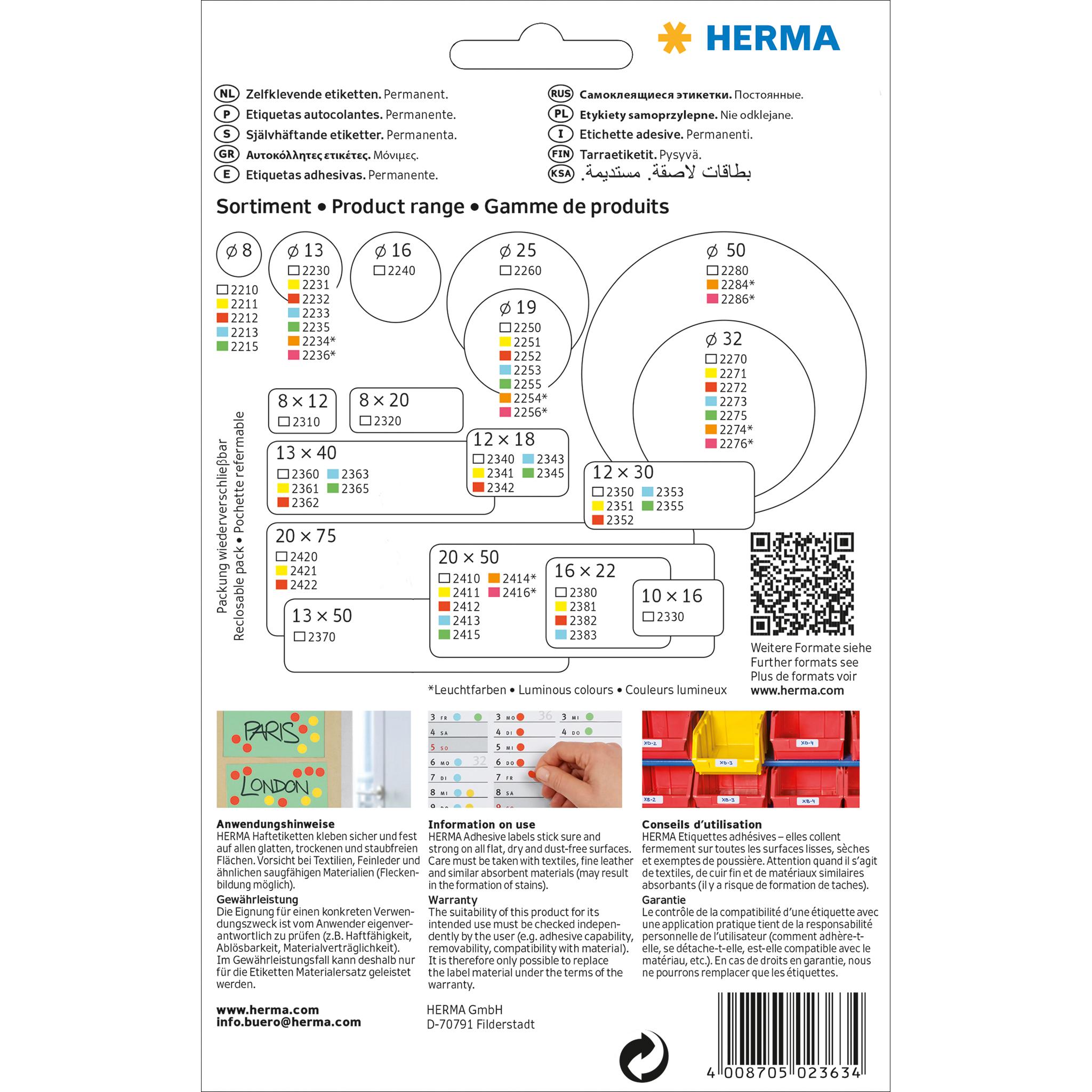 HERMA Vielzweck Etiketten 13 x 40 mm rot 896 Etiketten