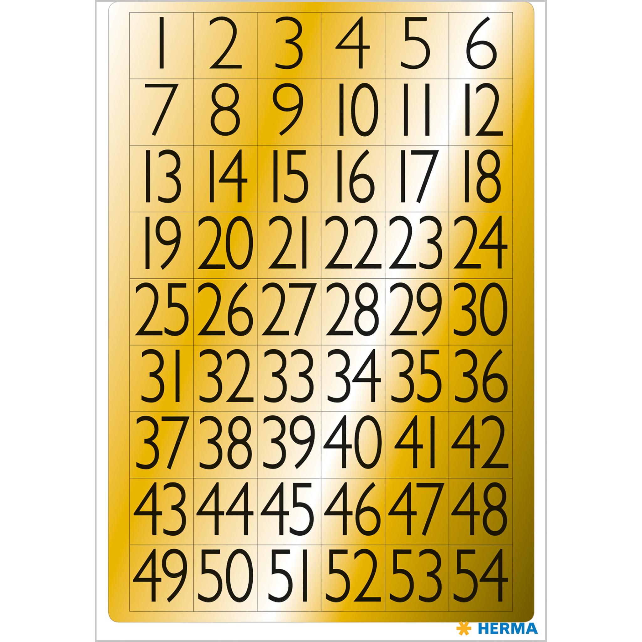 Zahlen 13x12 mm 1-100 Goldfolie schwarz 4 Bl.