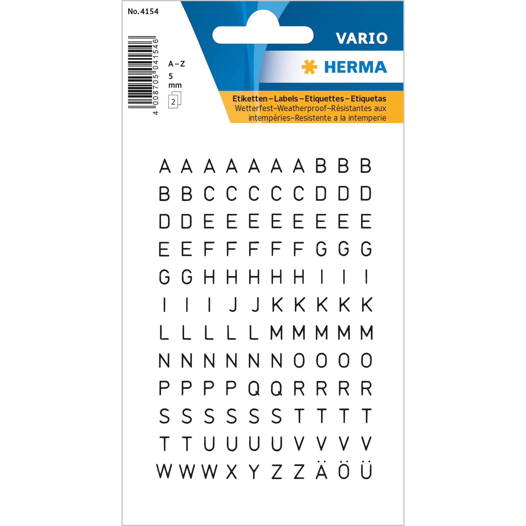 Buchstaben 5 Mm A Z Schwarz Auf Wetterfester Transparenter
