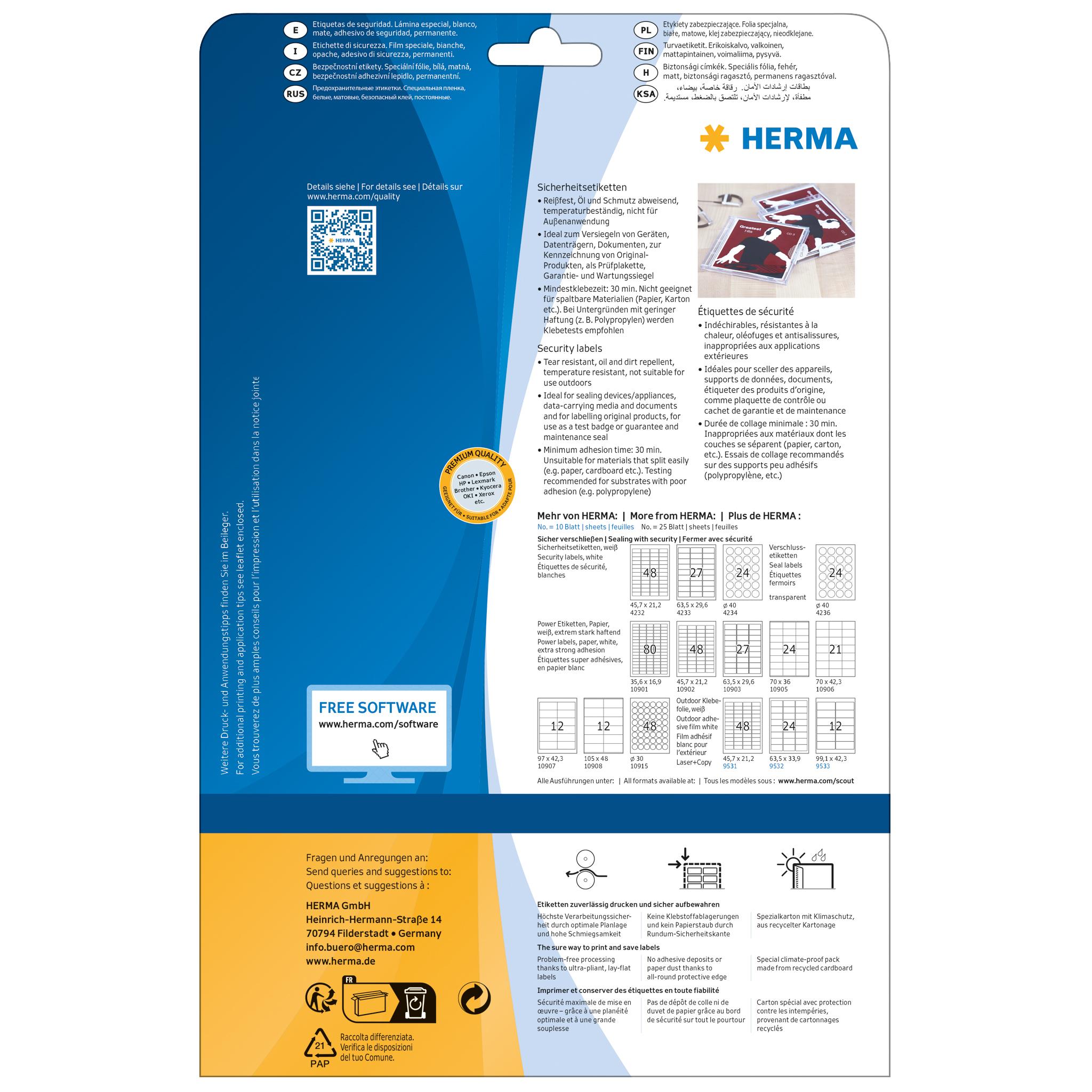 HERMA 10902 Etiketten A4 45,7x21,2 mm weiß extrem stark haftend Papier matt 1200