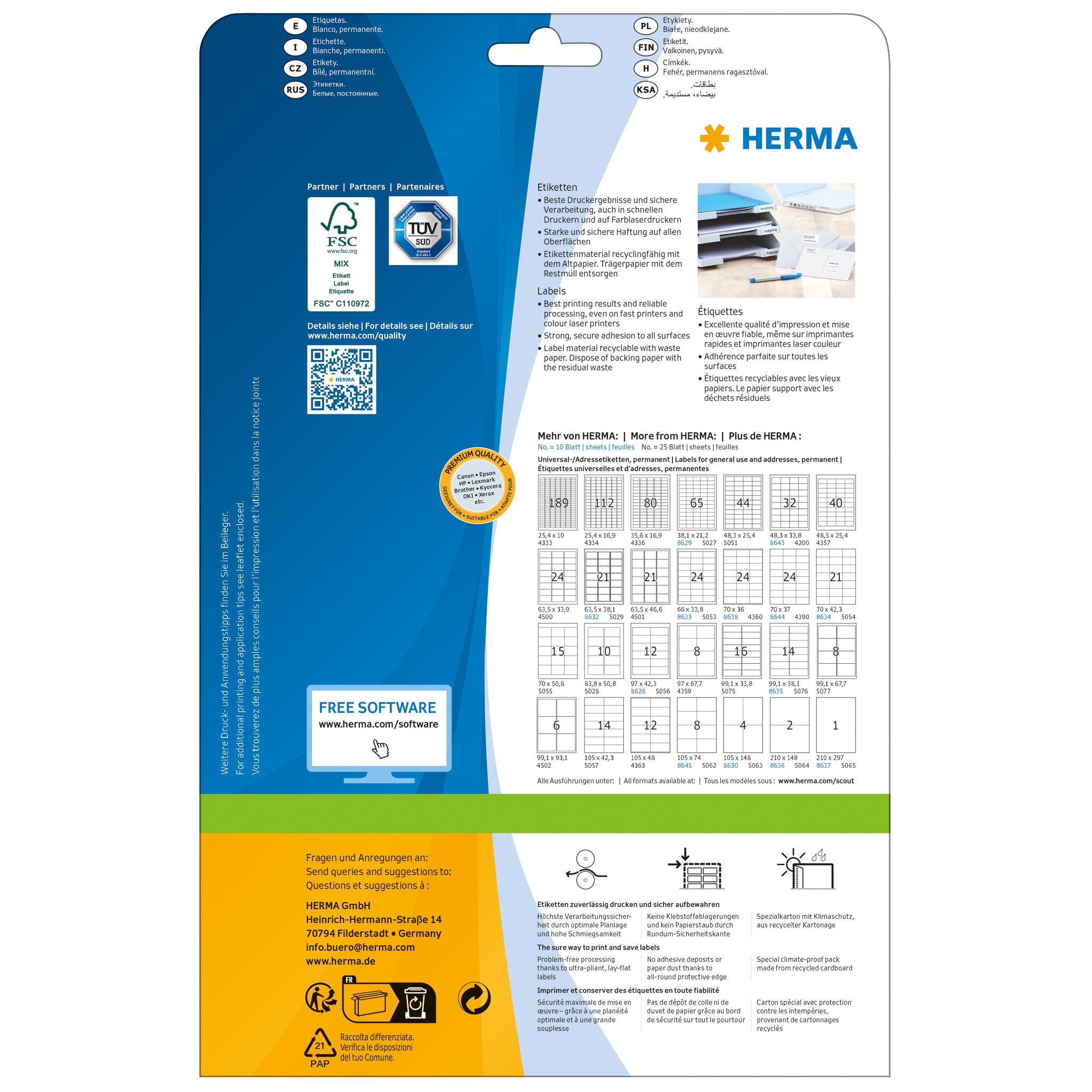 2000 Stück weiß Premium Papier matt, 35,6 x 16,9 mm Herma 4336 Etiketten