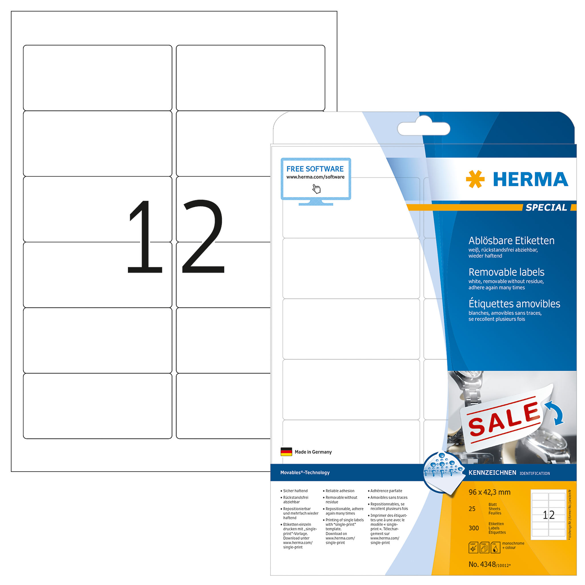 Ablösbare Etiketten A4 - HERMA 4348 - 96x42,3 mm Movables 300 St.