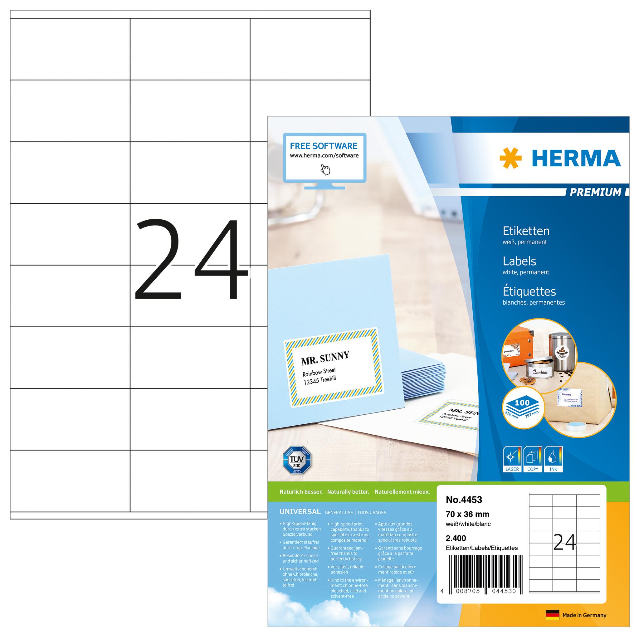 Etiketten Premium A4 - HERMA 4453 - 70x36 mm 2400 St.