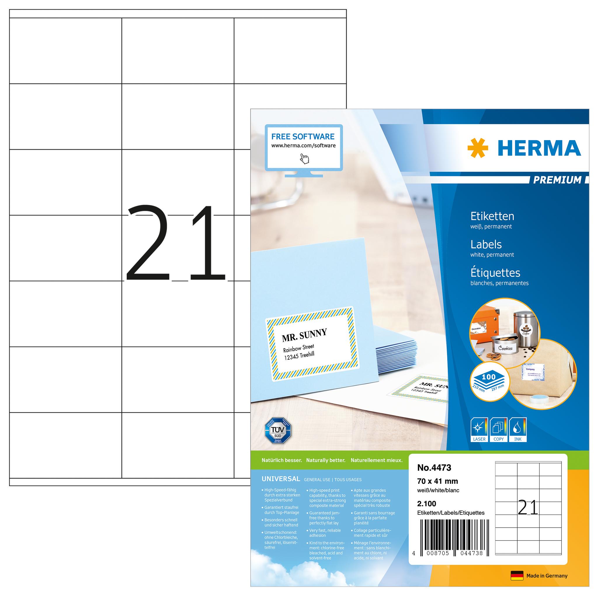 Etiketten Premium A4 - HERMA 4473 - 70x41 mm 2100 St.
