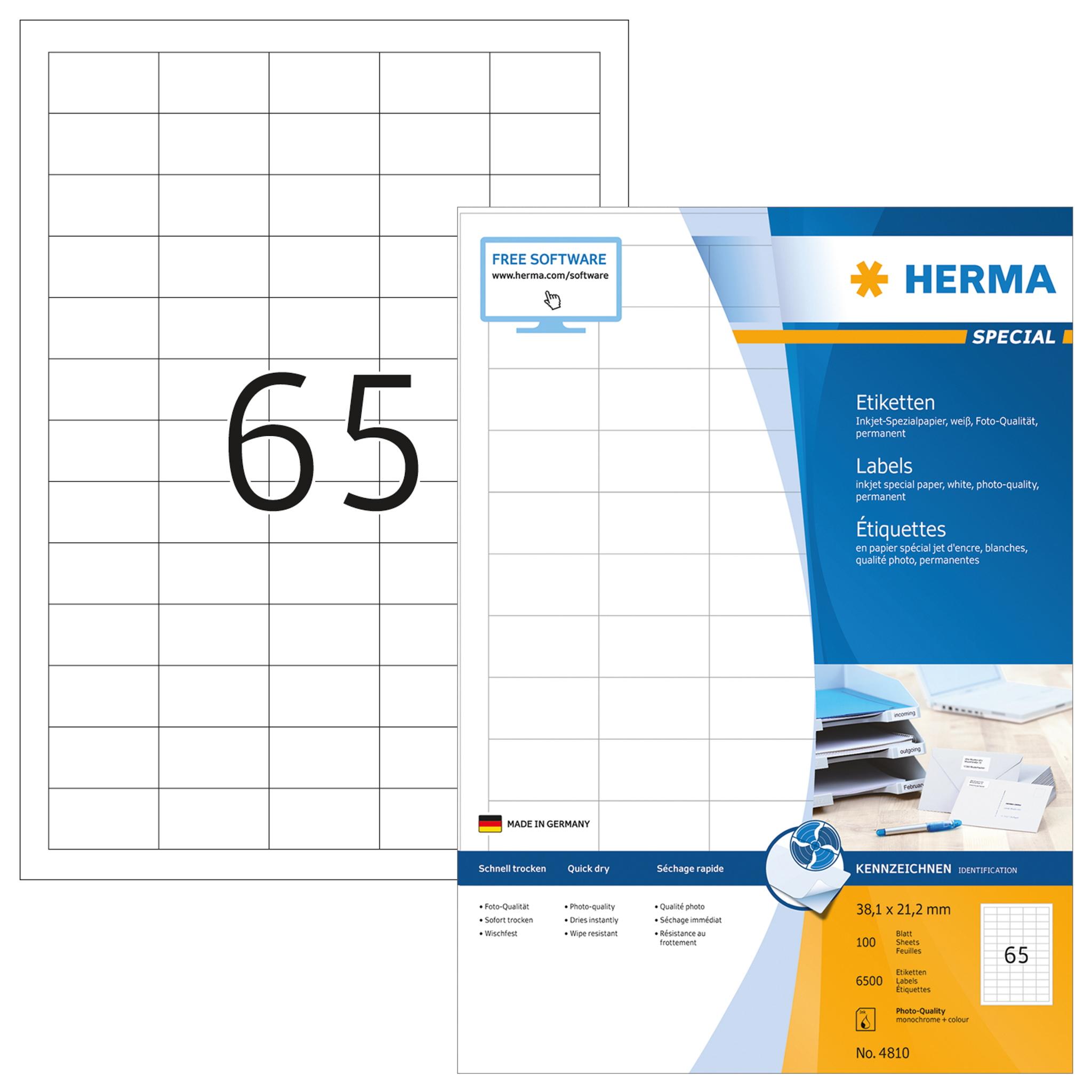 Inkjet-Etiketten A4 - HERMA 4810 - 38,1x21,2 mm 6500 St.