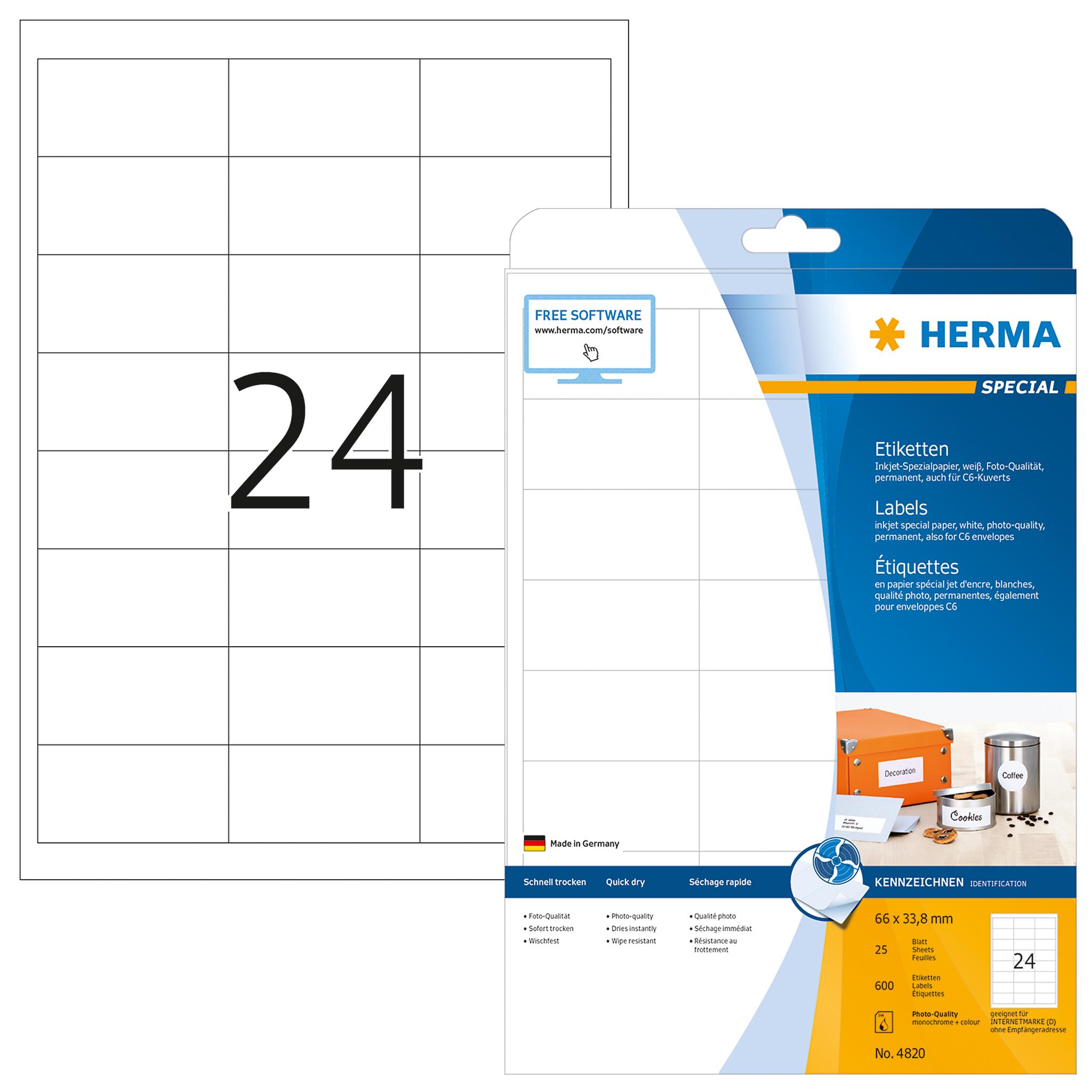 Tiefkühletiketten A4 weiß 66x33,8 mm Papier matt 600 St.