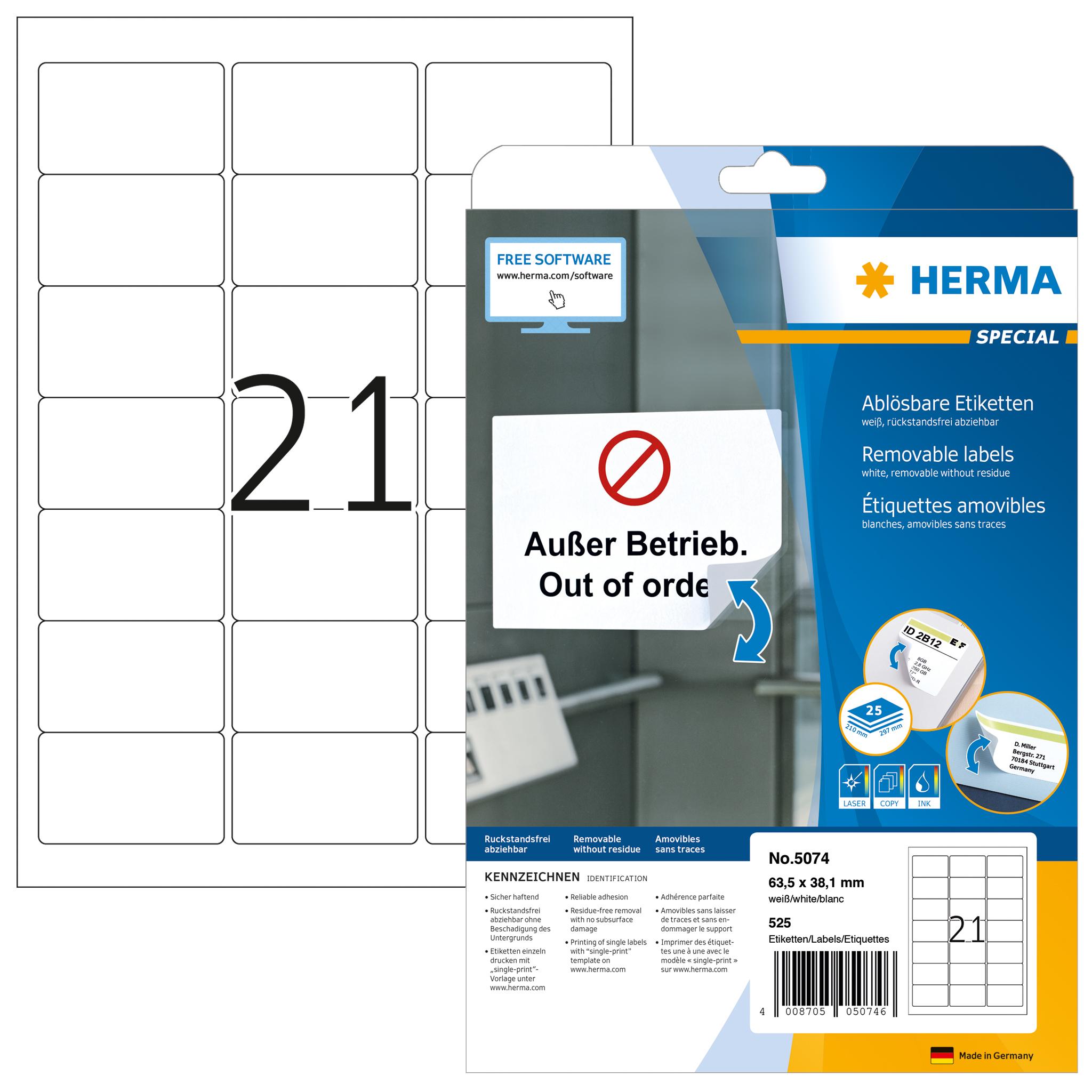 Ablösbare Adressetiketten A4 - HERMA 5074 - 63,5x38,1 mm 525 St.