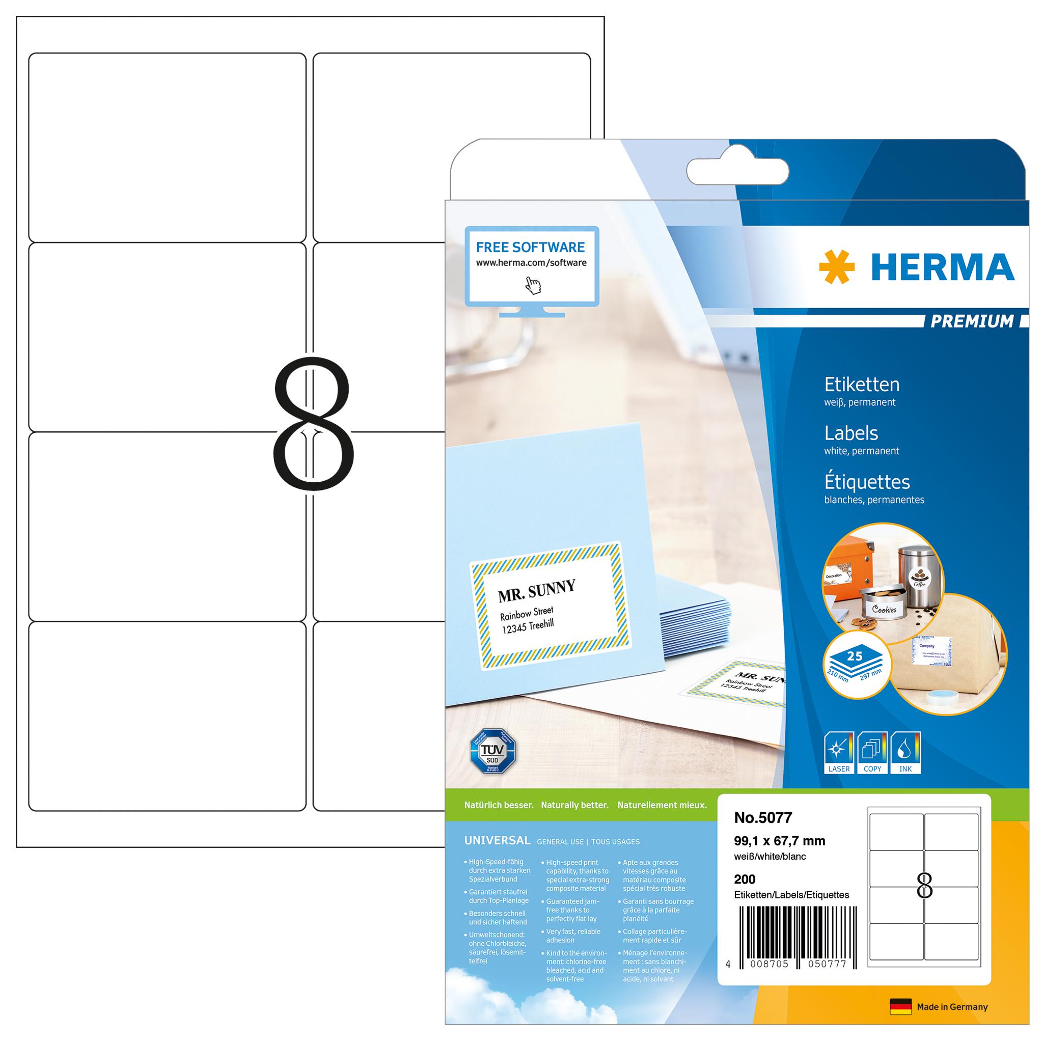Adressetiketten Premium A4 - HERMA 5077 - 99,1x67,7 mm 200 St.