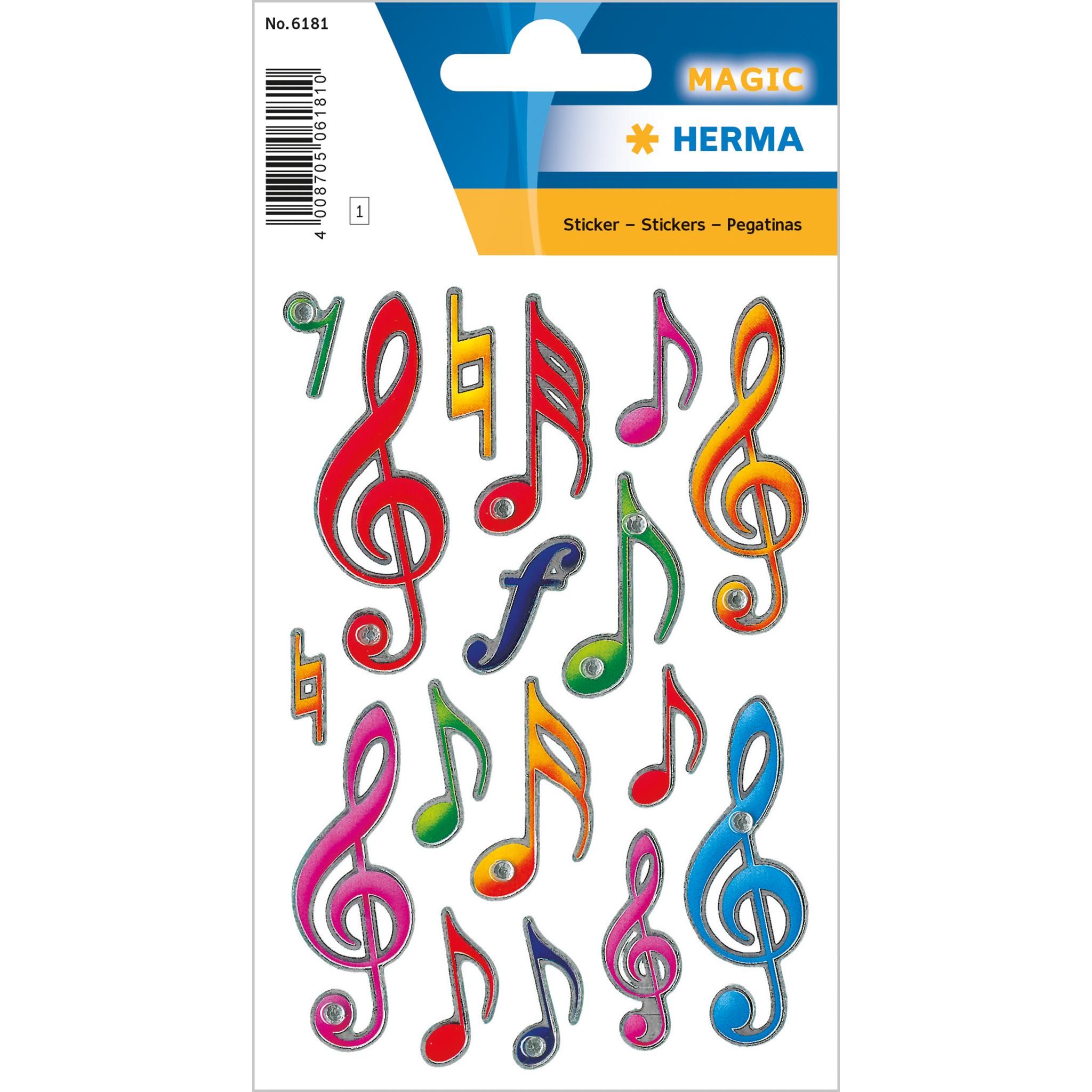 1x Blatt à 17 Sticker HERMA Sticker Notenschlüssel Aufkleber Schmucketikett