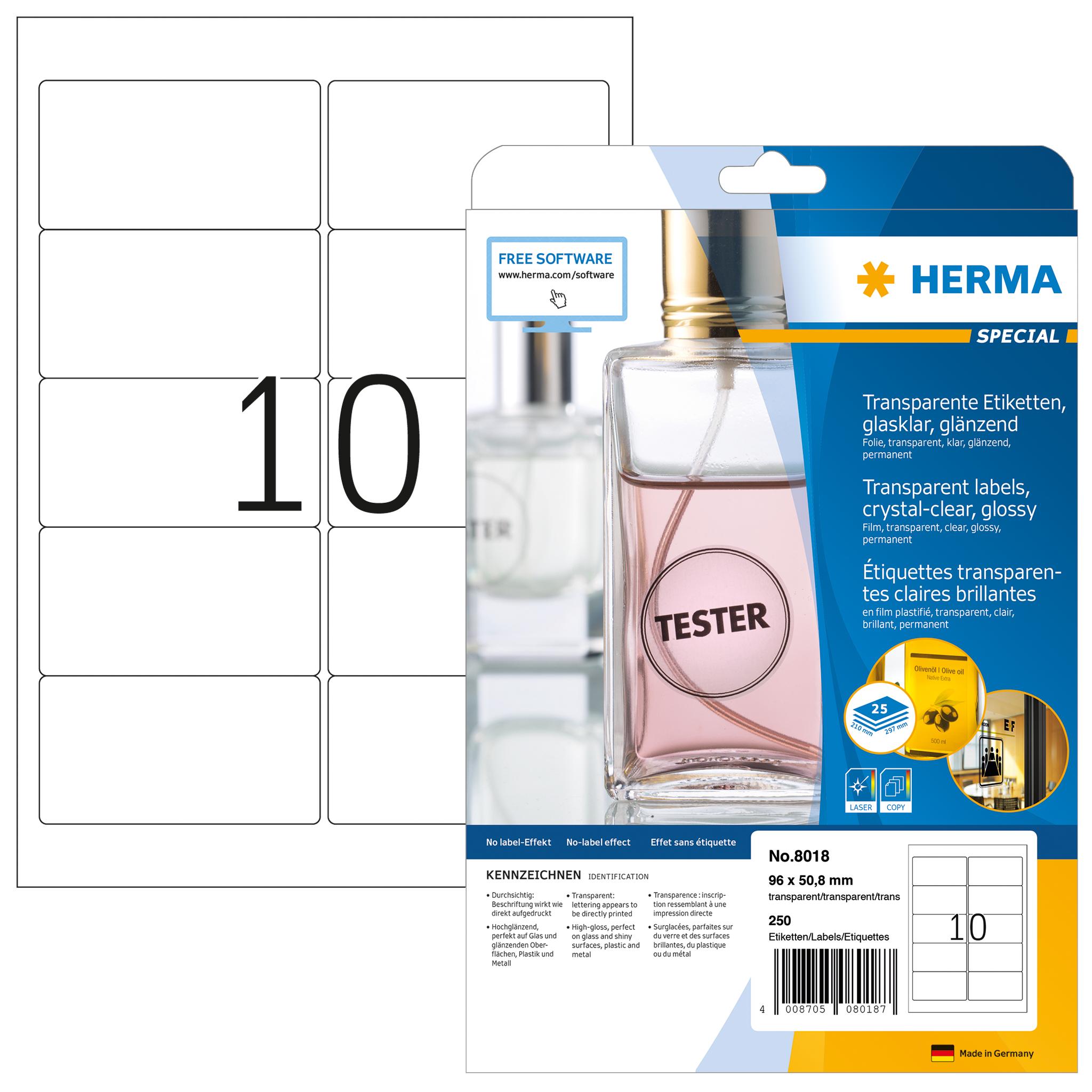 Etiketten transparent A4 - HERMA 8018 - 96x50,8 mm 250 St.