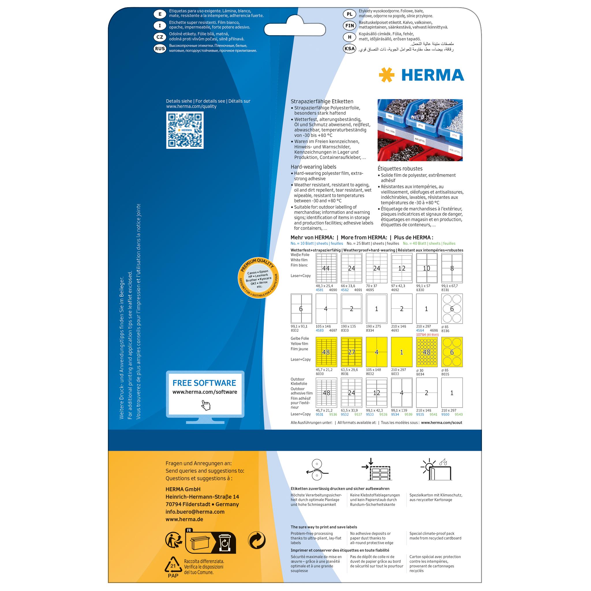 Folie HERMA 8337 2125 Etiketten 37 x 13 mm weiß strapazierfähig wetterfest